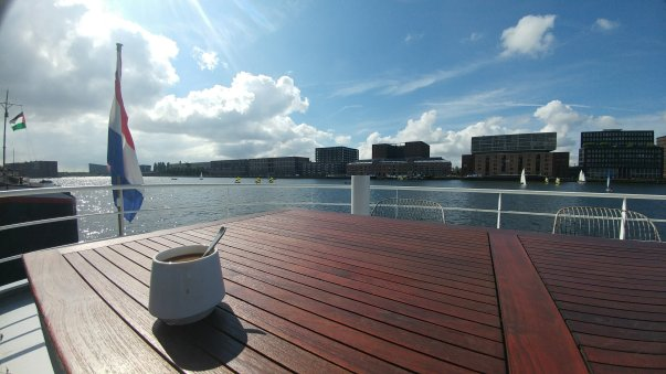 Amsterdam House Boat Coffee - Wandering Nobody Travel Blog