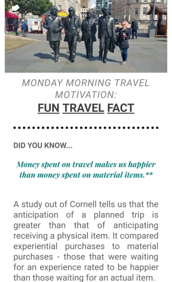 Monday Morning Travel Motivation Travel Fact - Wandering Nobody Travel Blog