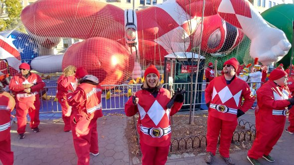 power ranger, balloon, happy, excited, parade