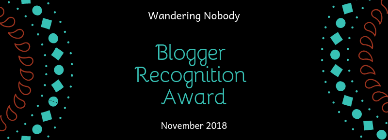 Blogger Recognition Award - Wandering Nobody Travel Blog